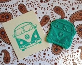 VW bus front clear polymer rubber stamp
