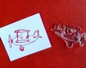 vintage style airplane clear polymer rubber stamp