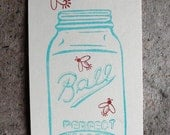 Ball/Mason jar and fireflies clear polymer rubber stamp set