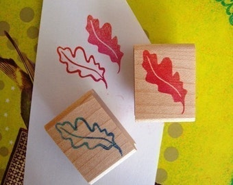 oak leaf hand carved rubber stamp set