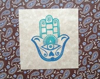 Hamsa hand carved rubber stamp