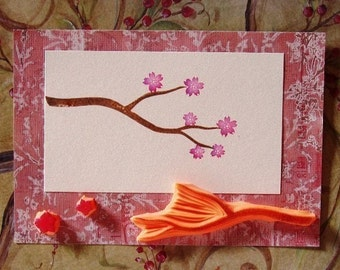 cherry blossom hand carved stamp set