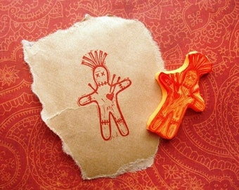 voodoo doll hand carved rubber stamp