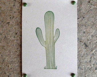 cactus hand carved rubber stamp