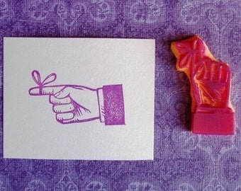 finger with string hand carved rubber stamp