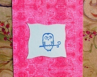 owl hand carved rubber stamp