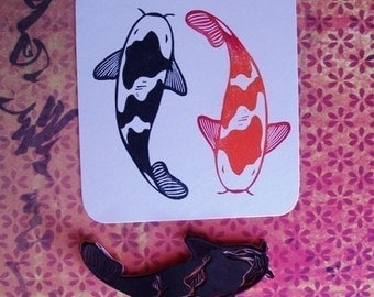 koi hand carved rubber stamp
