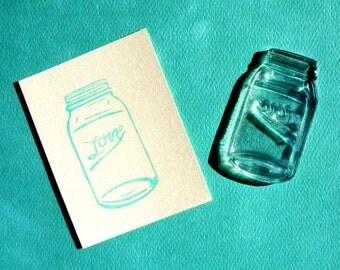 love mason ball jar clear polymer rubber stamp LARGE