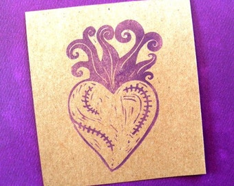 flowering flaming stitched heart hand carved rubber stamp