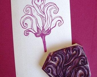 Rose hand-carved rubber stamp