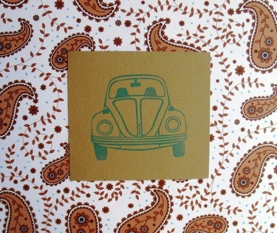 VW Bug hand carved rubber stamp