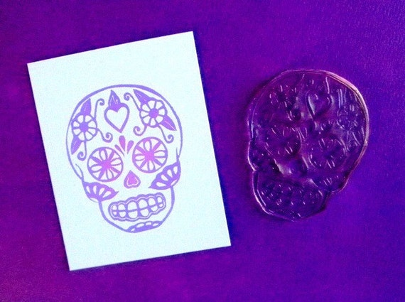 sugar skull clear polymer stamp