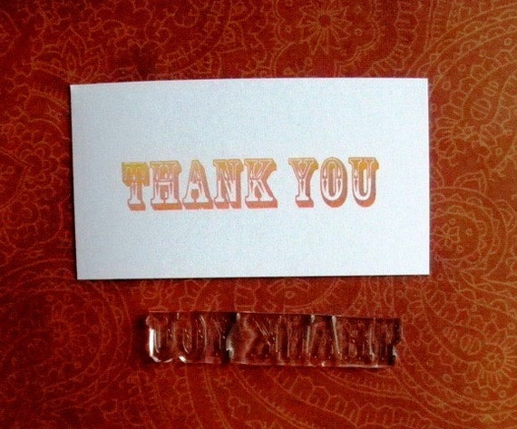 Thank You clear polymer rubber stamp