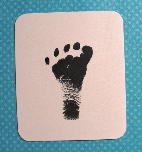CUSTOM baby footprints or handprints clear polymer rubber stamp