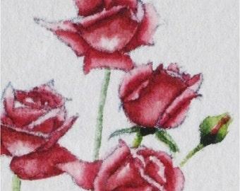 Sweet Red Roses Original Watercolor Painting