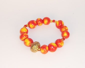 Handmade Orange Red and Gold Bracelet