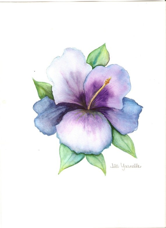Blue and purple Hibiscus original watercolor painting