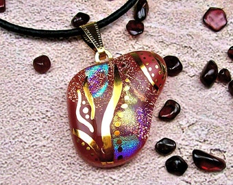 Shard - Dichroic Fused Glass Pendant Hand Painted in 22k Gold