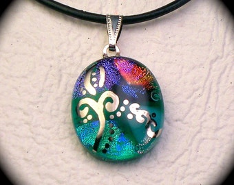 Sprout - Green dichroic glass pendant hand painted in genuine white gold