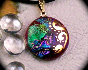 Warm Fuzzy - Red dichroic fused glass pendant hand painted in 22k gold