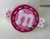Monogrammed Wool Felt Hair Clip - Boysenberry