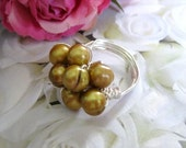Golden Pearls Wire Wrapped Ring