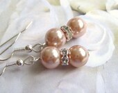 Sweet Antique Rose Pearl Earrings