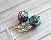 Chinese Porcelain Earrings in blue