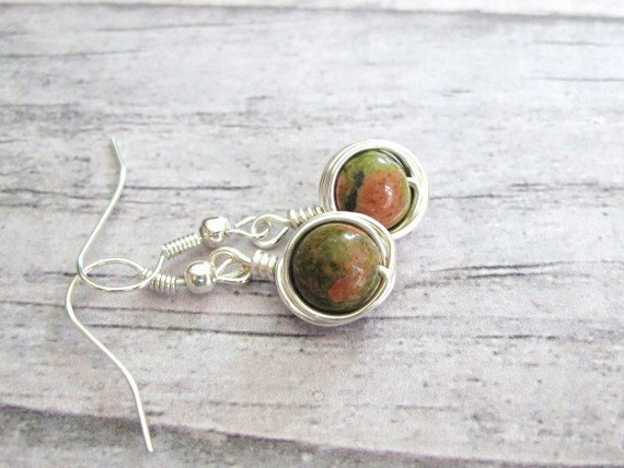 Wire Wrapped Earrings with unakite stone