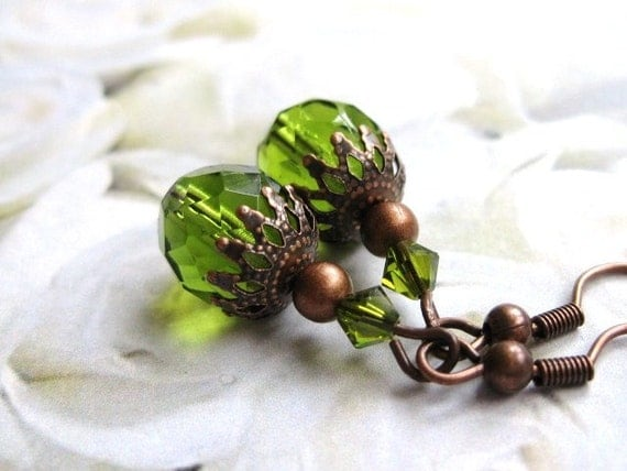 Glass Earrings in olivine