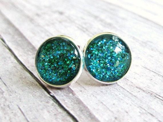 Galaxy earrings , Glitter earrings in peacock blue