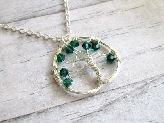 Tree of life wire wrapped pendant , Swarovski crystals pendant , birthmonth pendant