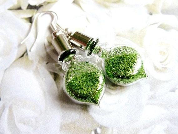 Glass bottles earrings, fairy tale earrings, woodland fairy's magical dust