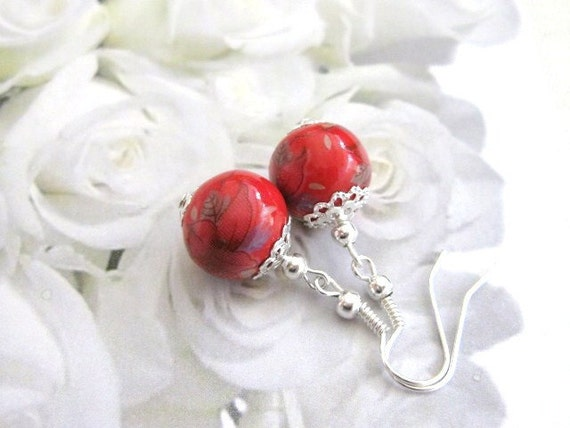 Chinese Porcelain Earrings in red pomegranate shade