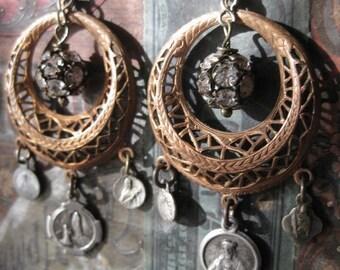 thankful ~ antique rhinestone religious French enfante medal dangles