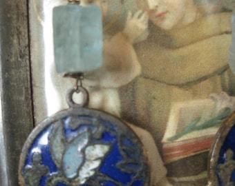 blue lagoon -- antique organic gemstone flower rhinestone cloisonee bird dangles