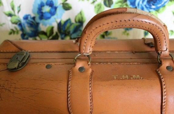 Vintage Light Brown Leather Luggage