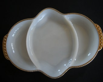 Vintage Fire King White Glass Relish Dish
