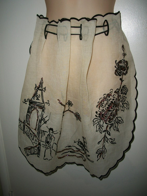 Vintage Sheer Japanese Apron with Glitter Accents