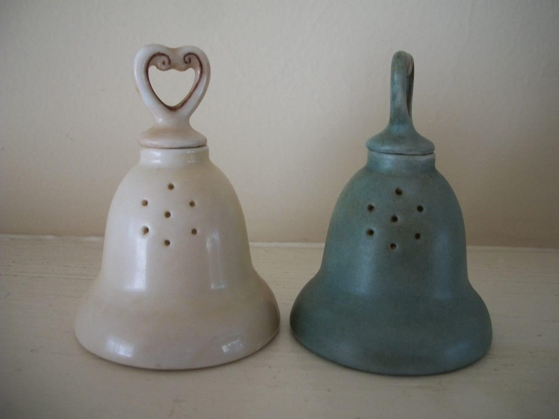 Salt And Pepper Shakers Bell Shape Ceramic By Treasurecache