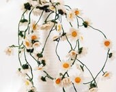 Crochet flowers - Home Deco - Table Set - Bouquet - Crocheted Cosmos Chlorophytum