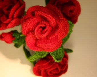 Crochet roses(5 for a set)