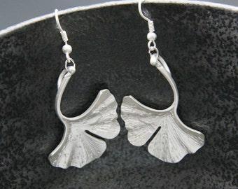 Matte Silver Plated Ginkgo Earring