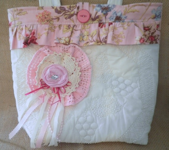 Shabby Chic  Purse Tote Bag Cream Pink Lace Ribbon Vintage Pieces