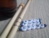Peacock Blue Knit, Purl, Drink Stitch Markers - handmade stitchmarkers available in lots of colors and sizes