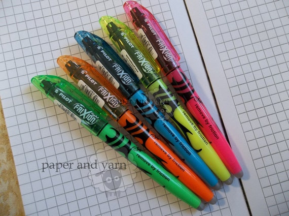 Chart Pen Erasable Highlighter by Pilot: Frixion Light Blue, Pink, Green, Orange and Yellow Pattern Pen
