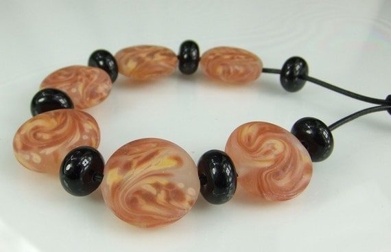 Glass Lampwork Bead Set, Etched Apricot, Peach, Orange