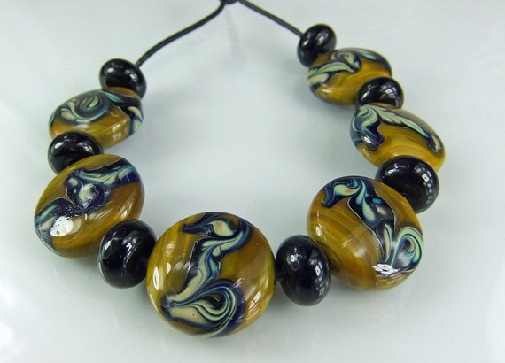 Glass Lampwork Bead Set Dijon Black Tans Blues SRA Glass Beads