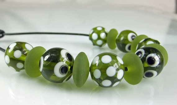 Olive Green,Ivory and Black Lampwork Bead Set