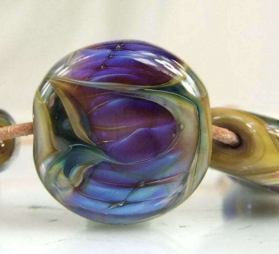 Blue,Purple,Golden Taupe Lampwork Bead Set